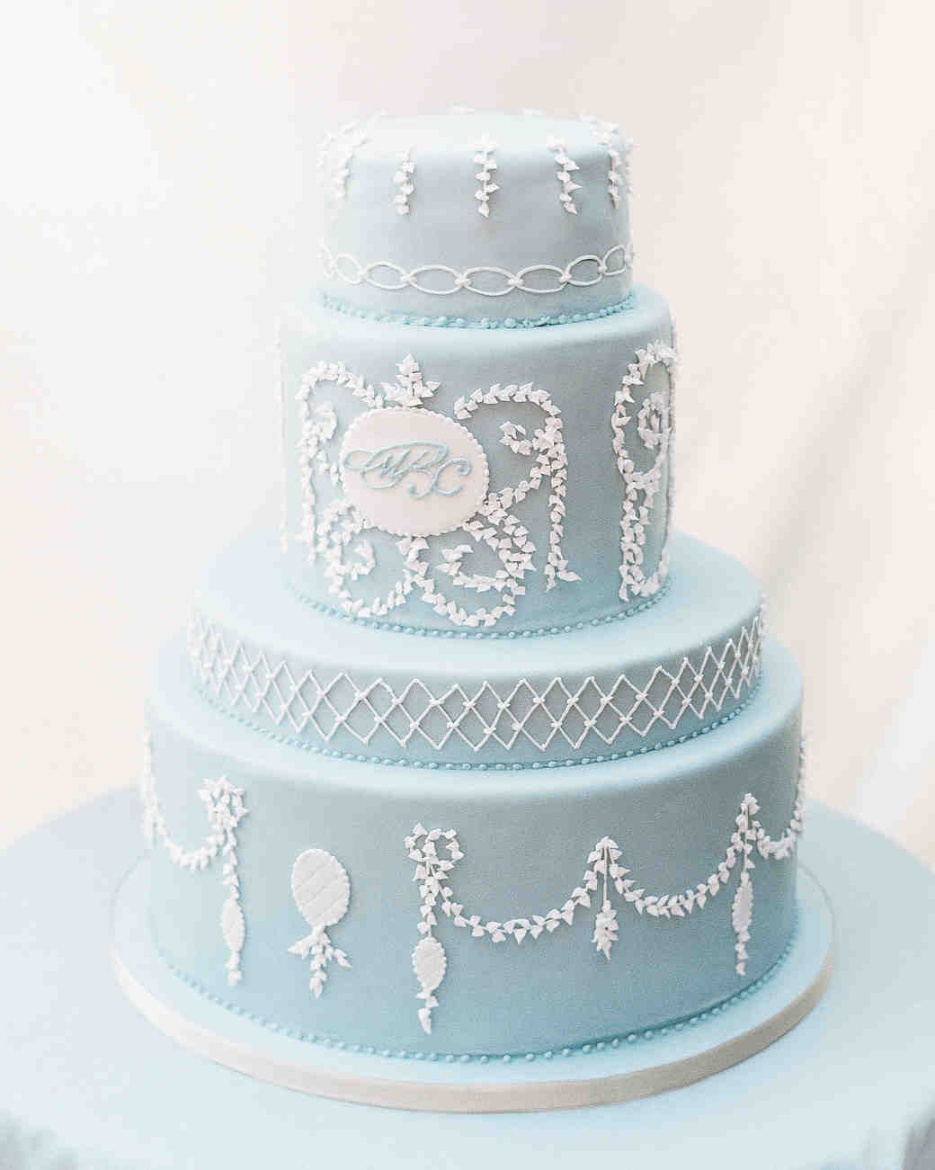 Blue Wedding Cake with White Details