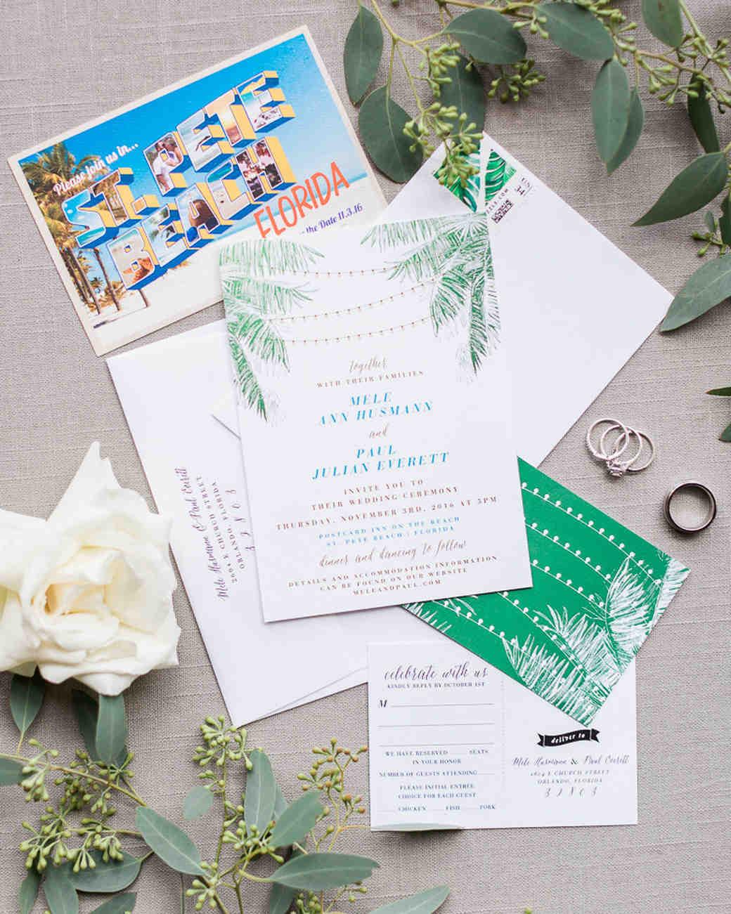 Florida postcard wedding invitation