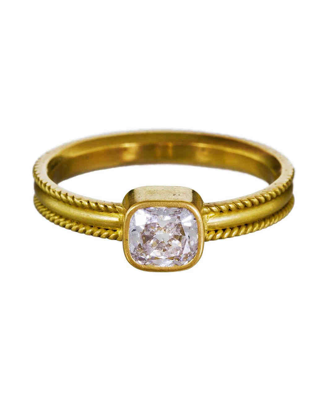 Reinstein / Ross Cushion-Cut Diamond Engagement Ring on Ribbon Band