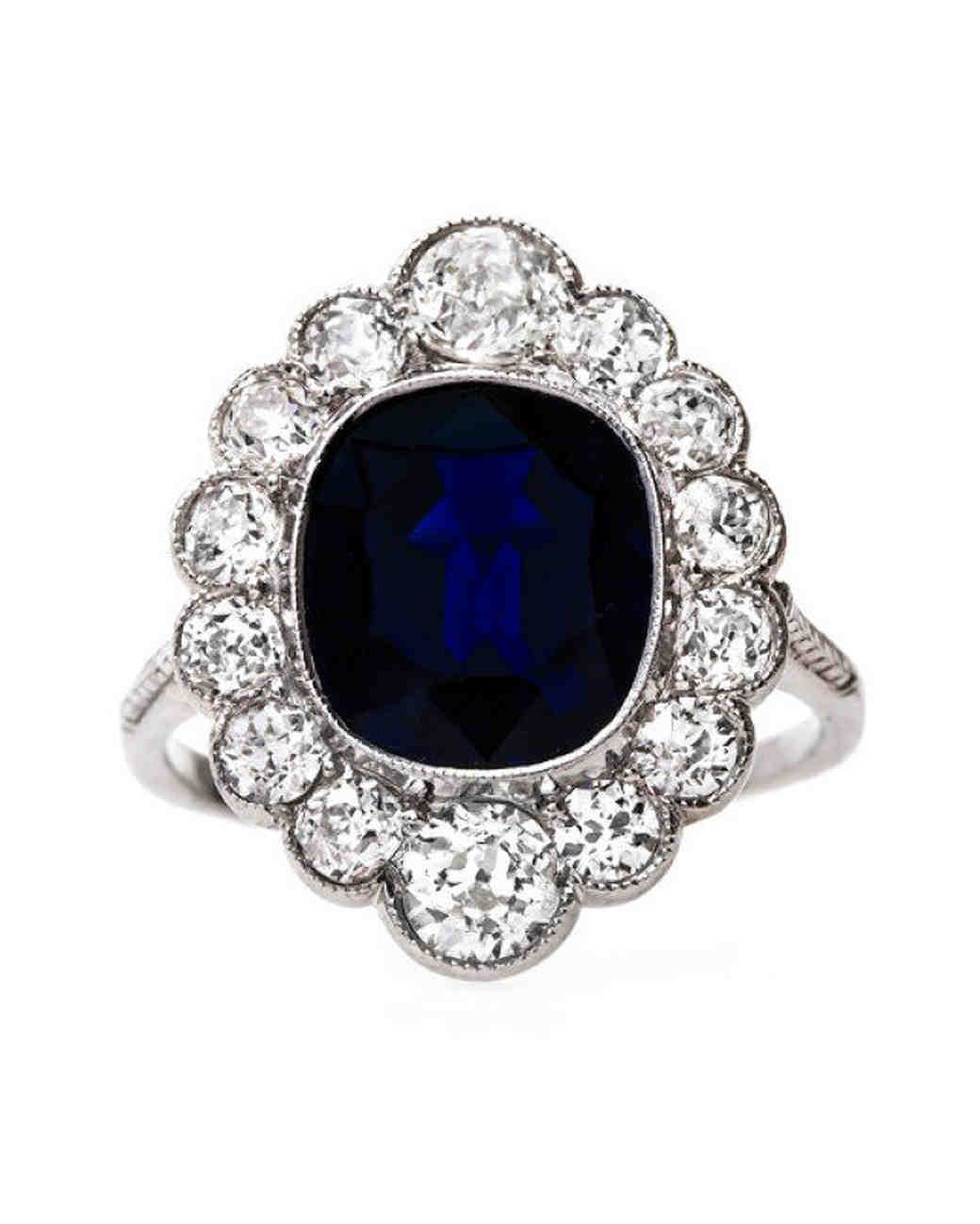 Trumpet & Horn Cushion-Cut Sapphire Engagement Ring