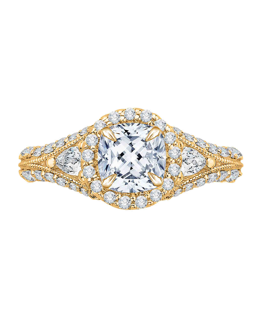 Carizza Yellow Gold Engagement Ring with Halo and Double diamond shank