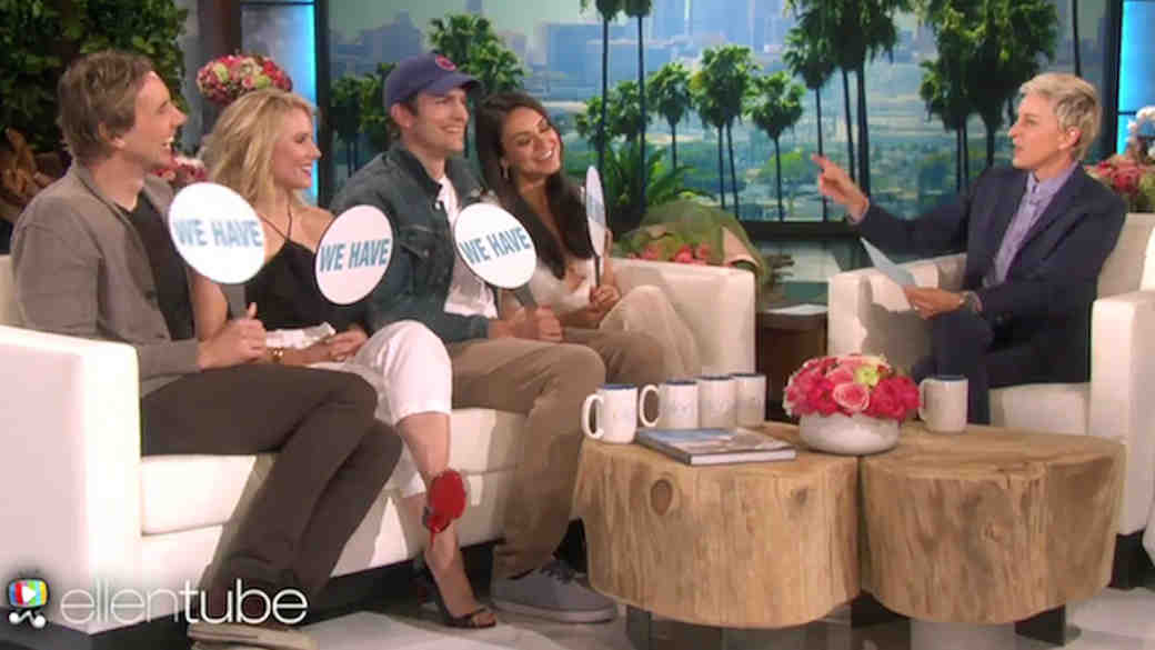 "Mila Kunis, Ashton Kutcher, Kristen Bell, and Dax Shepard Play an Amazing Game of ""Never Have We Ever"" on The Ellen Show"