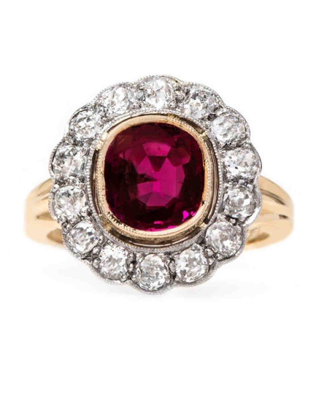 "Trumpet & Horn ""Cardinal Falls""Edwardian Era Engagement Ring"