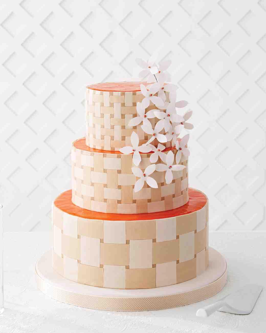 Orange and White Basket Weave Wedding Cake