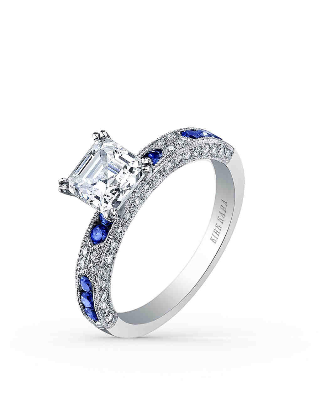 Kirk Kara Asscher-Cut Diamond Engagement Ring with Sapphires on Band