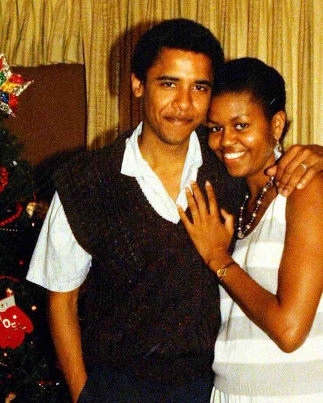 Michelle and Barack Obama Christmas Throwback