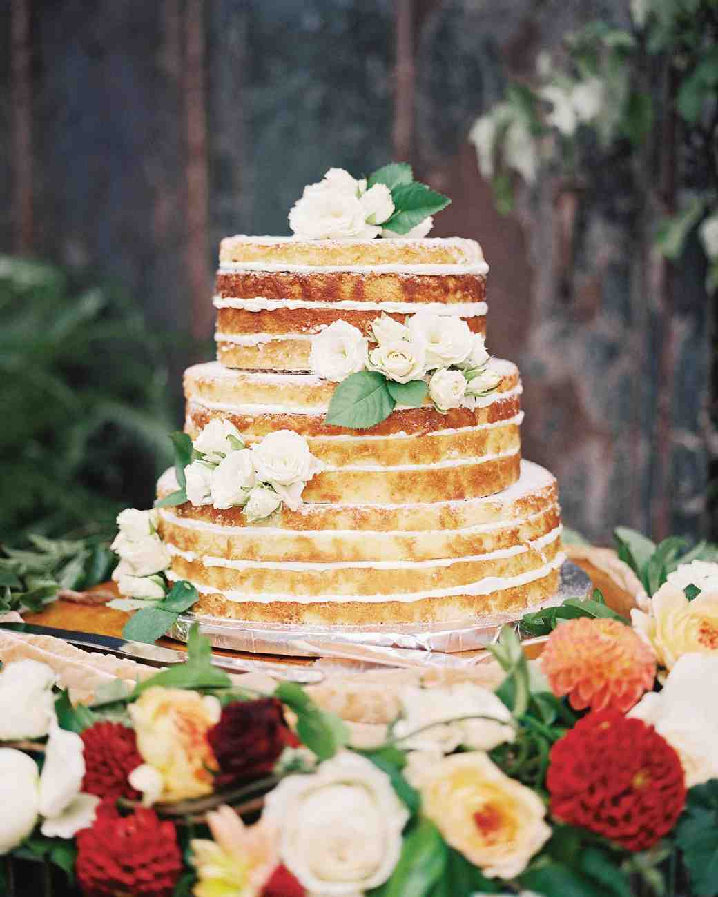 Naked Wedding Cake with Spray Roses