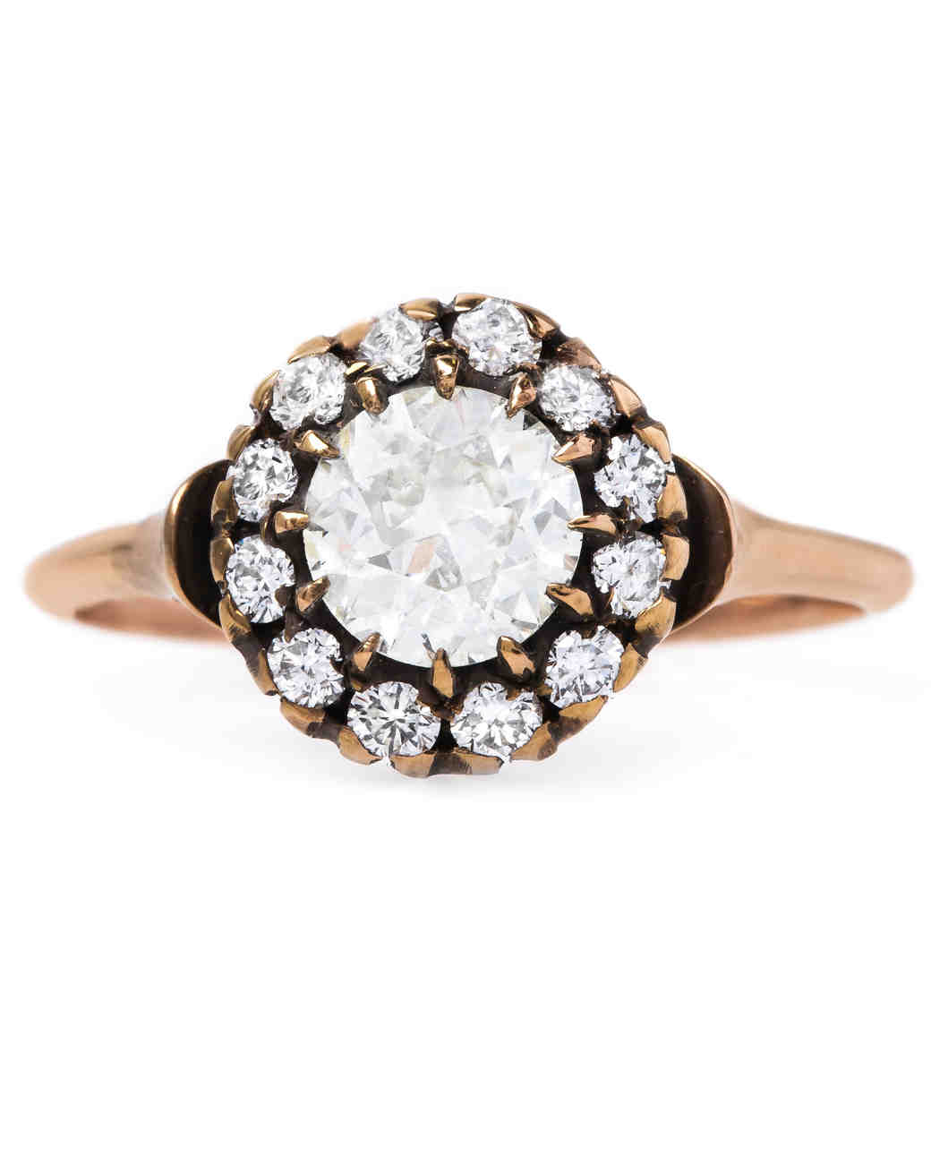 Trumpet & Horn Euro-Cut Rose Gold Engagement Ring with Black Detailing