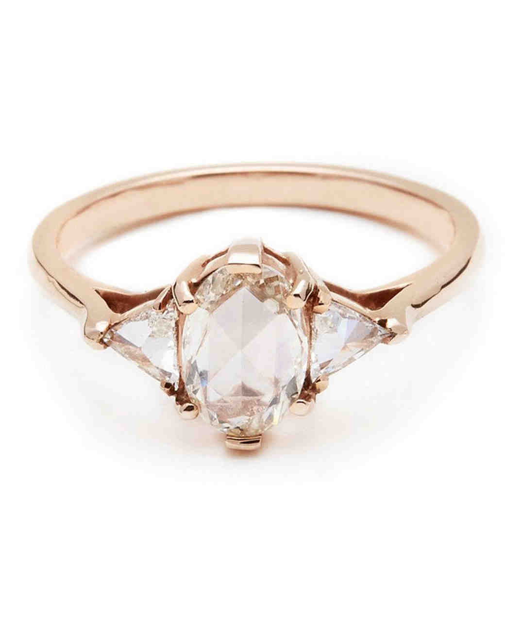 "Anna Sheffield rose gold white diamond oval ""Bea"" engagement ring"