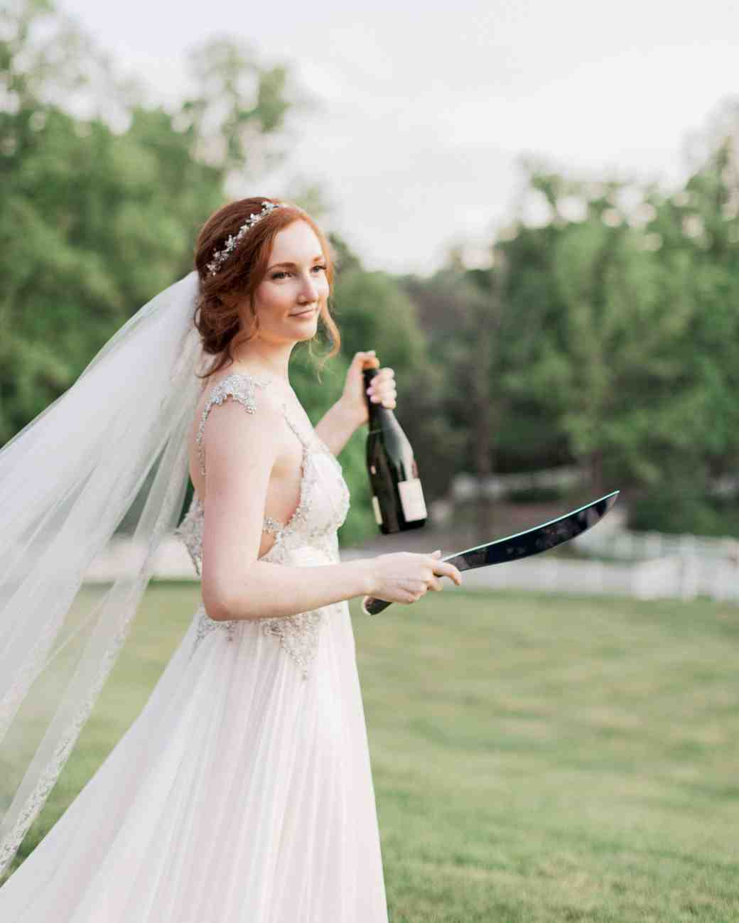 bride sabered champagne