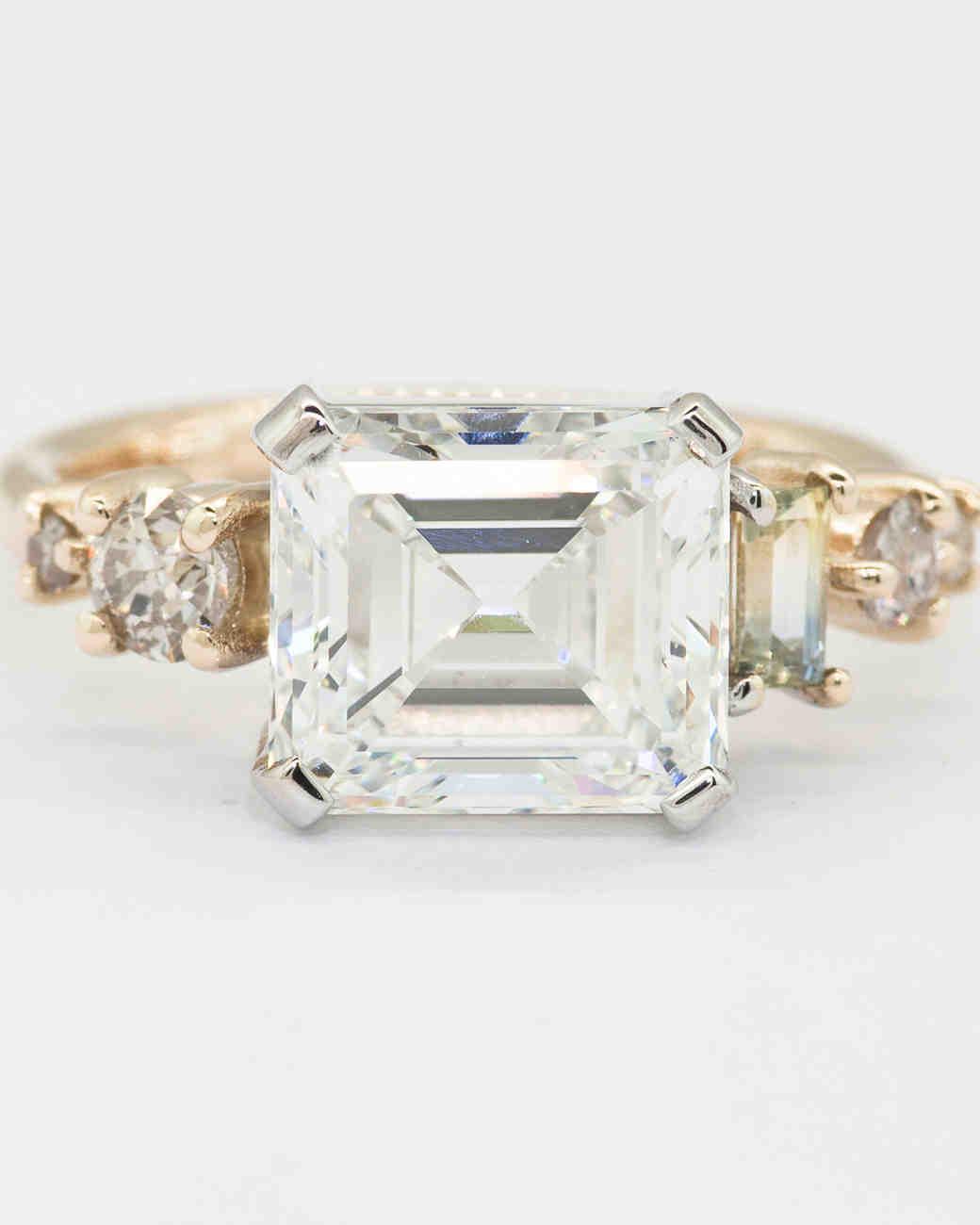 Mociun Asscher-Cut Sapphire Cluster Engagement Ring