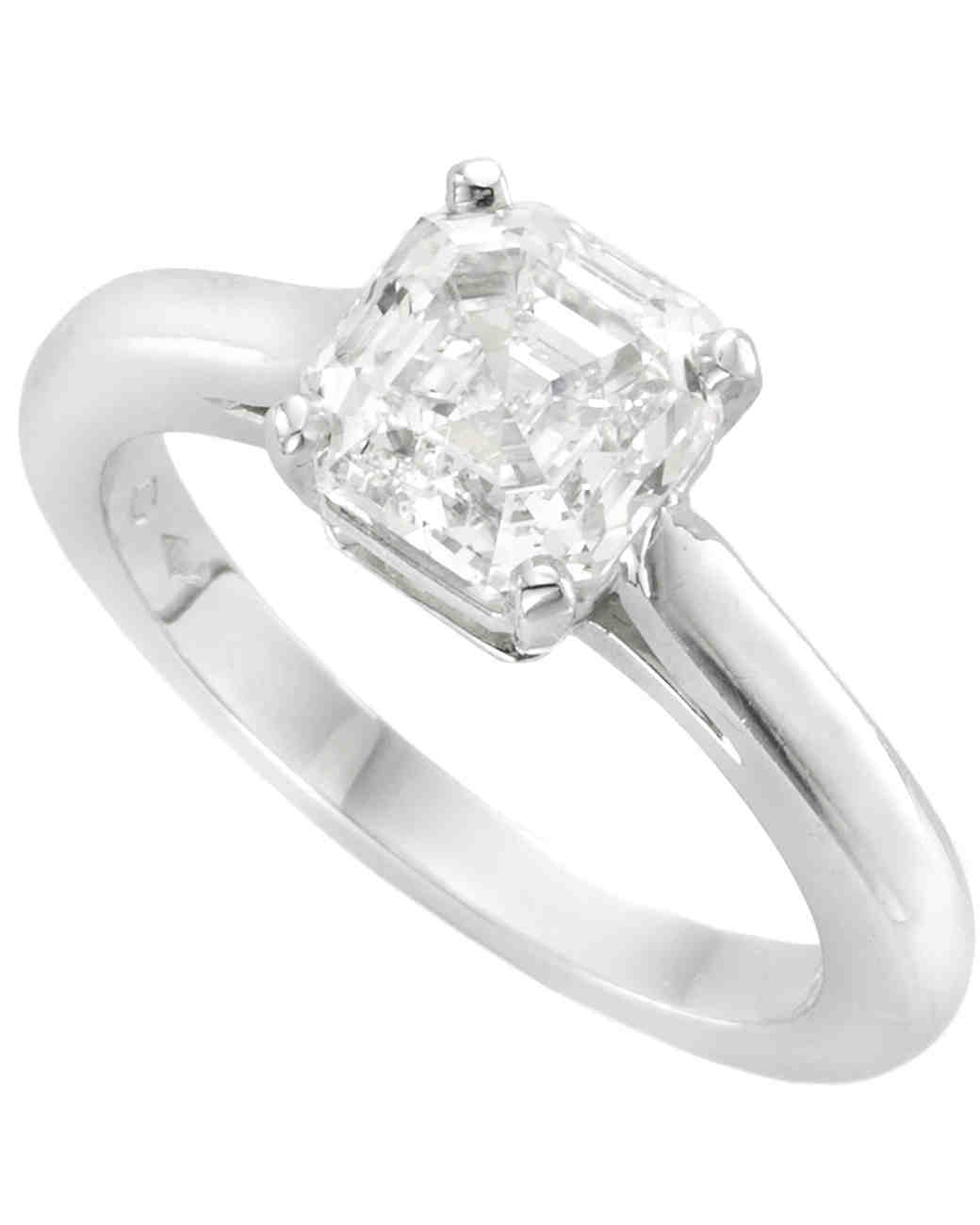 Van Cleef & Arpels Asscher-Cut Solitaire Engagement Ring on Plain Platinum Band