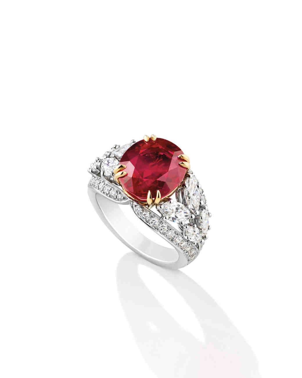 Harry Winston Oval Ruby Ring with Marquise-Cut Side Stones
