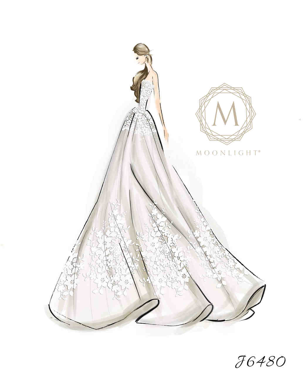 Moonlight Bridal Fall 2017 Exclusive Wedding Dress Sketch