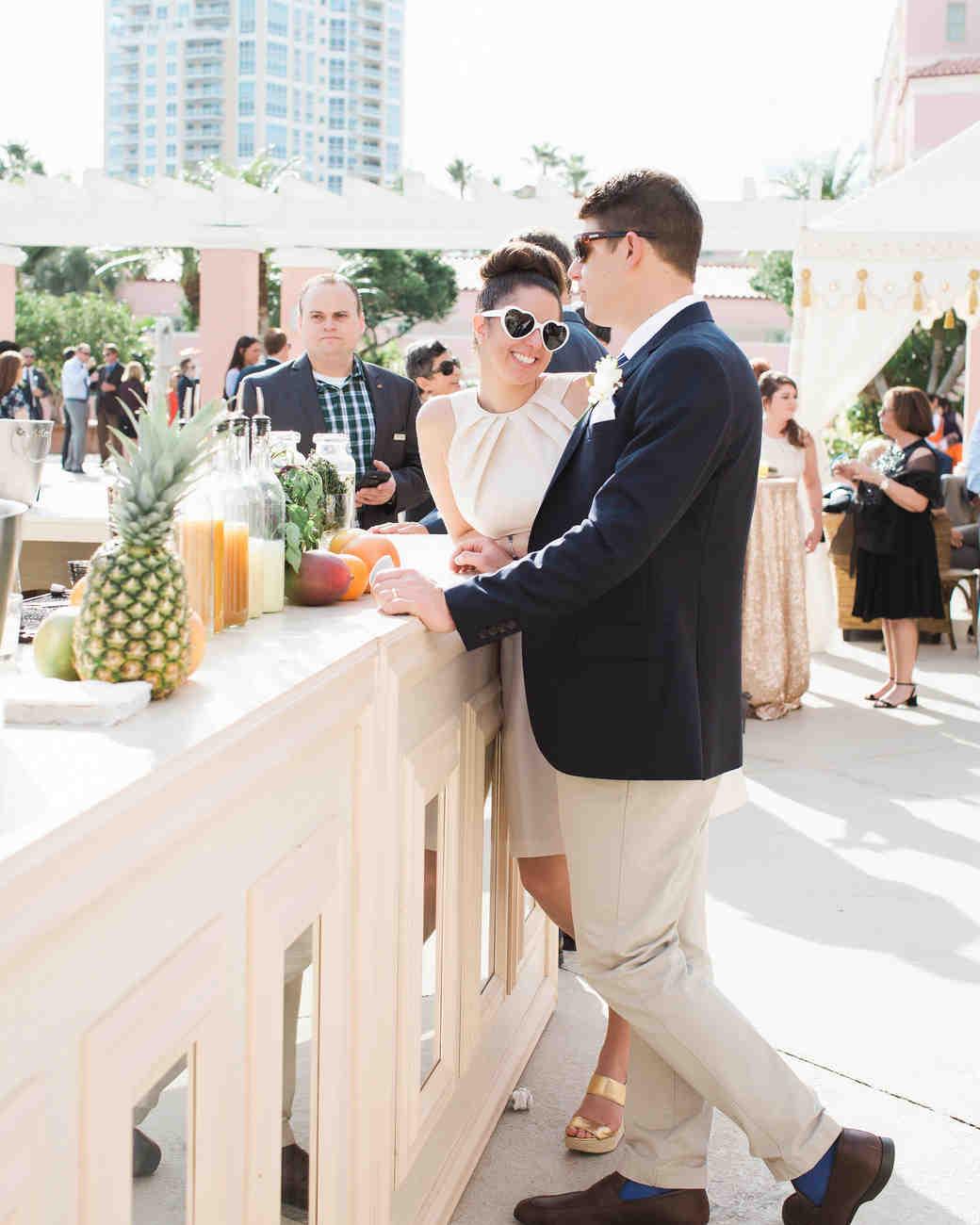 Guests at the Bar at an Outdoor Wedding