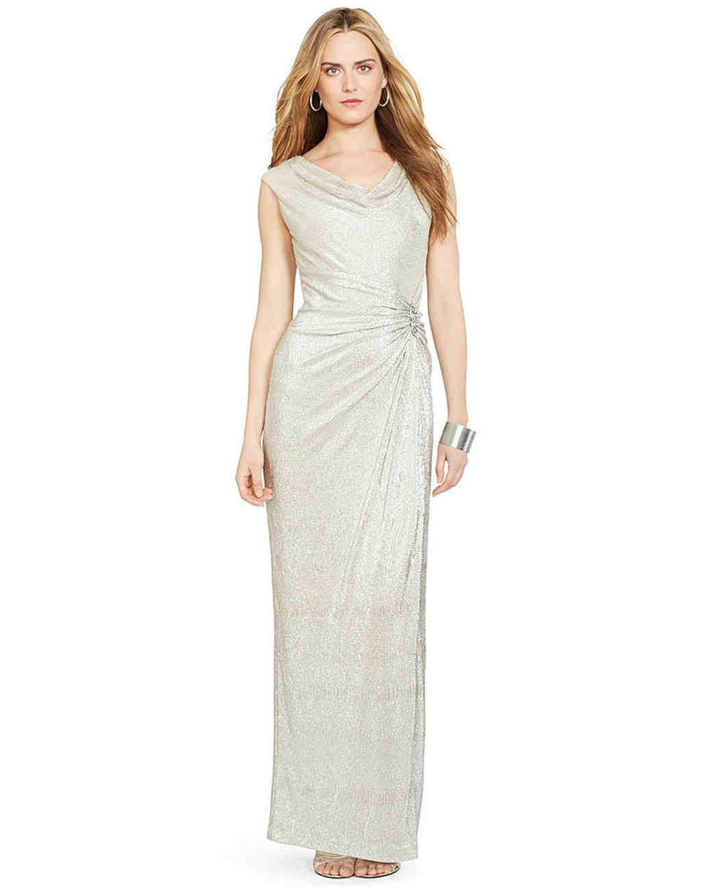 winter bridesmaid dress ralph lauren silver embellished metallic