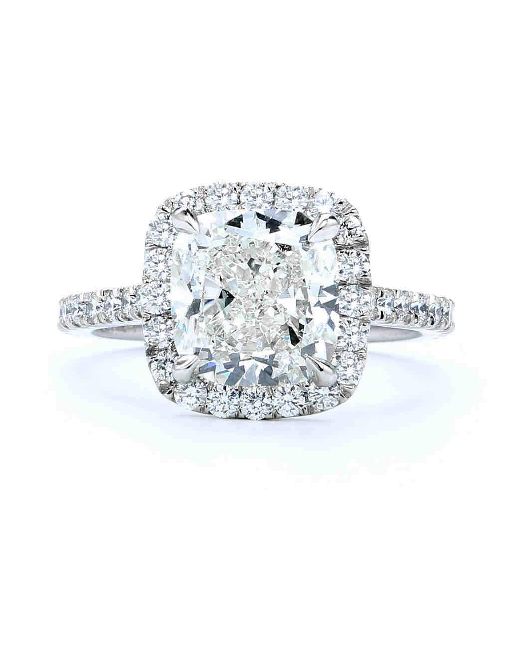Forevermark by Premier Gem Cushion-Cut Diamond Ring with Halo Set In White Gold