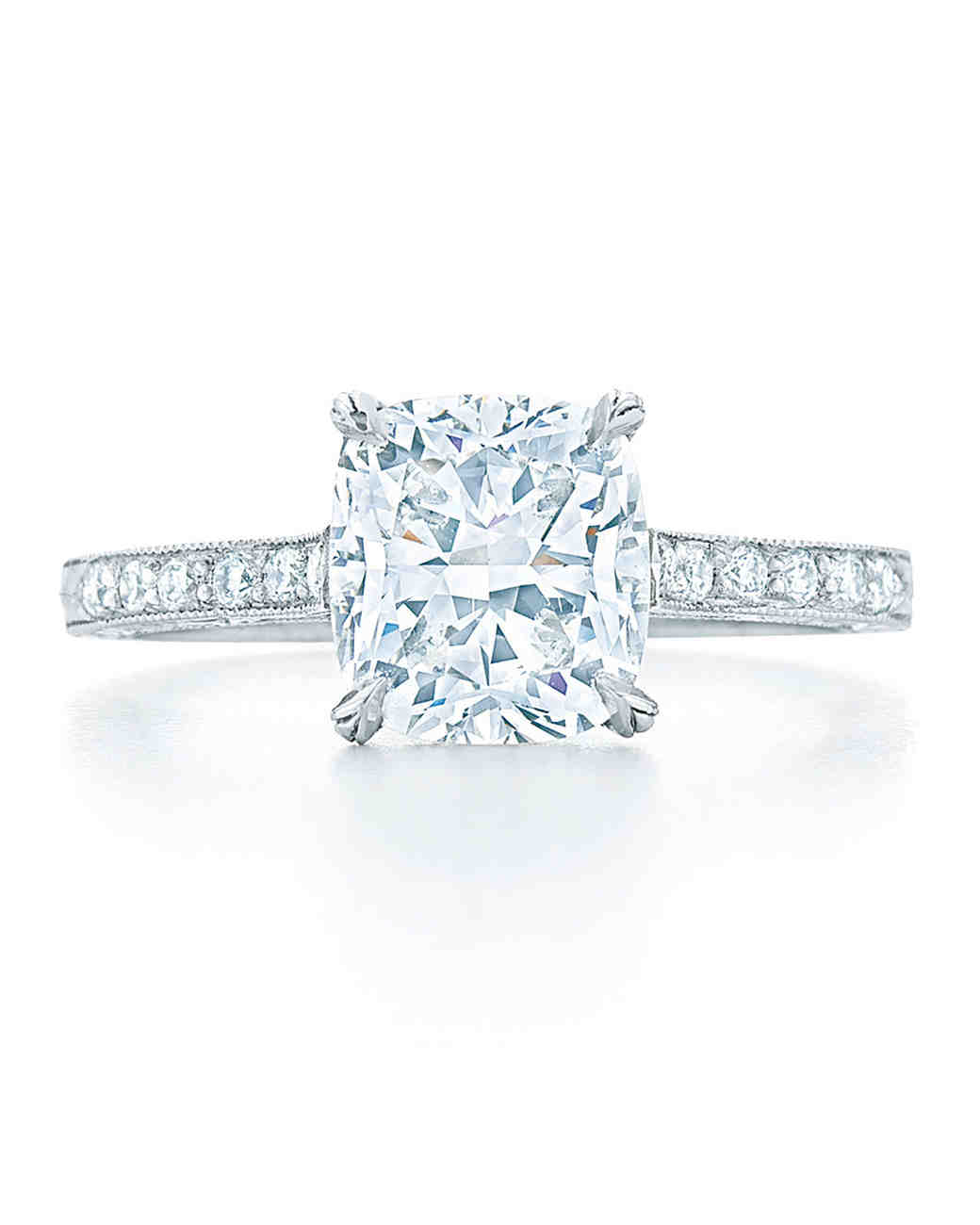 Kwiat Cushion-Cut Diamond Engagement Ring with Diamond Shank