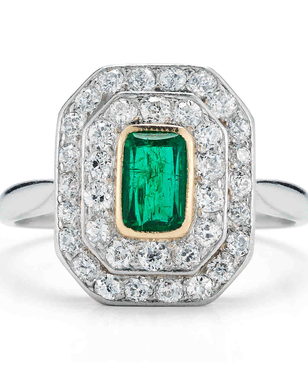 McTeigue and McClelland vintage art deco engagement ring with emerald