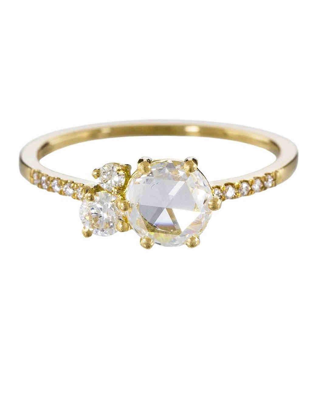Blanca Monros Gomez Three Diamond Yellow Gold Ring