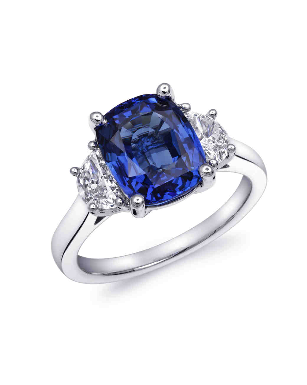 Coast Diamond Cushion-Cut Sapphire and Moon-Cut Diamond Engagement Ring