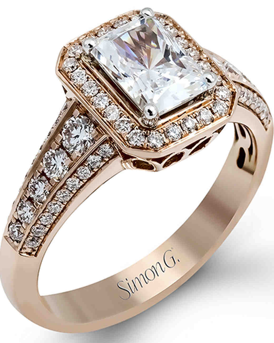 Simon G. Emerald-Cut Rose Gold Engagement Ring