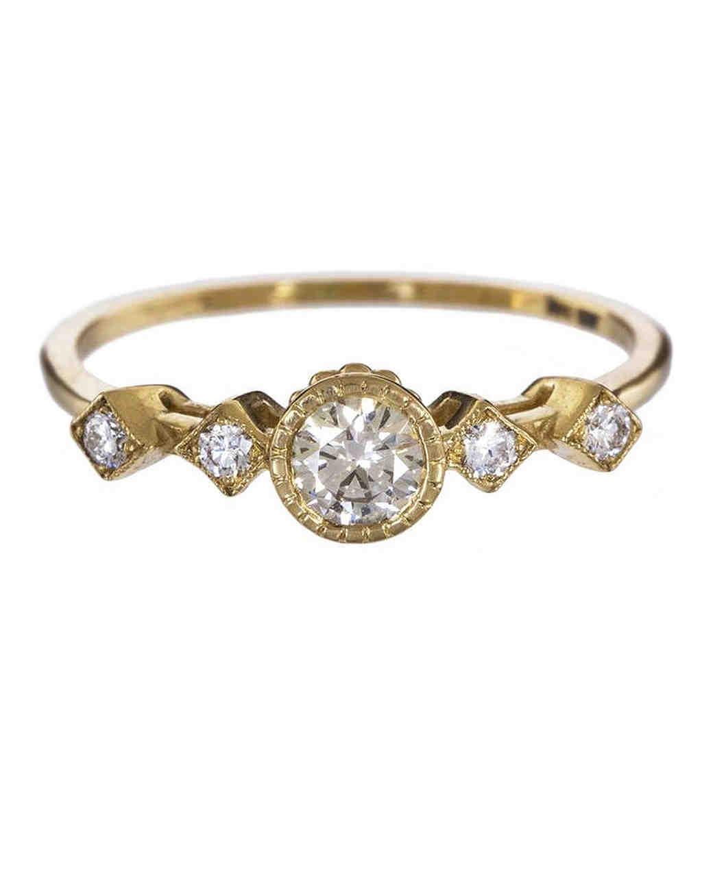 Jennie Kwon Yellow Gold Champagne Diamond Engagement ring