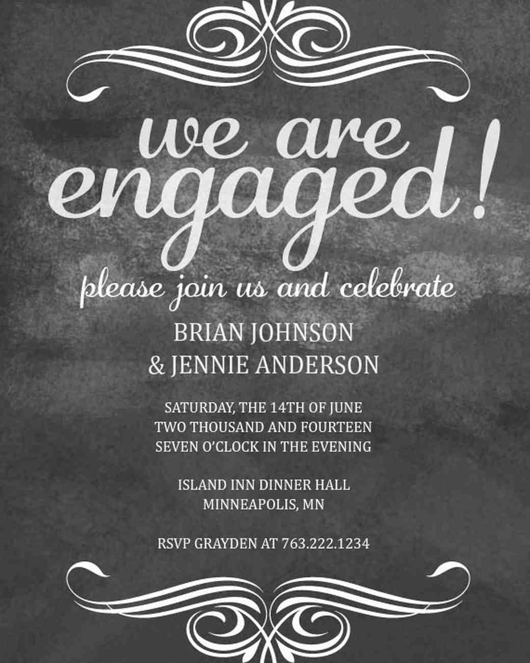 paperless engagement party invites  martha stewart weddings, invitation samples