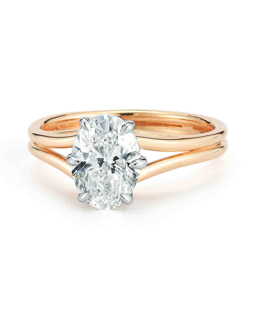 Forevermark by Jade Trau Two Tone Split Shank Solitaire Engagement Ring in Yellow Gold