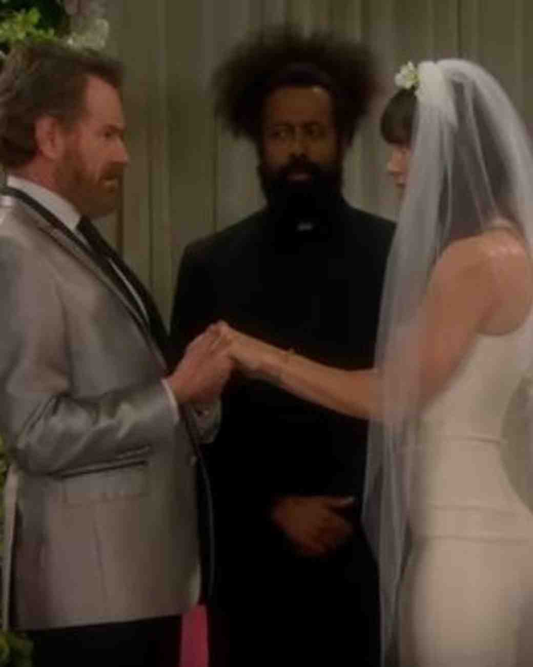 """Jessica Biel and Bryan Cranston in """"The Late Late Show"""" Wedding Skit"""