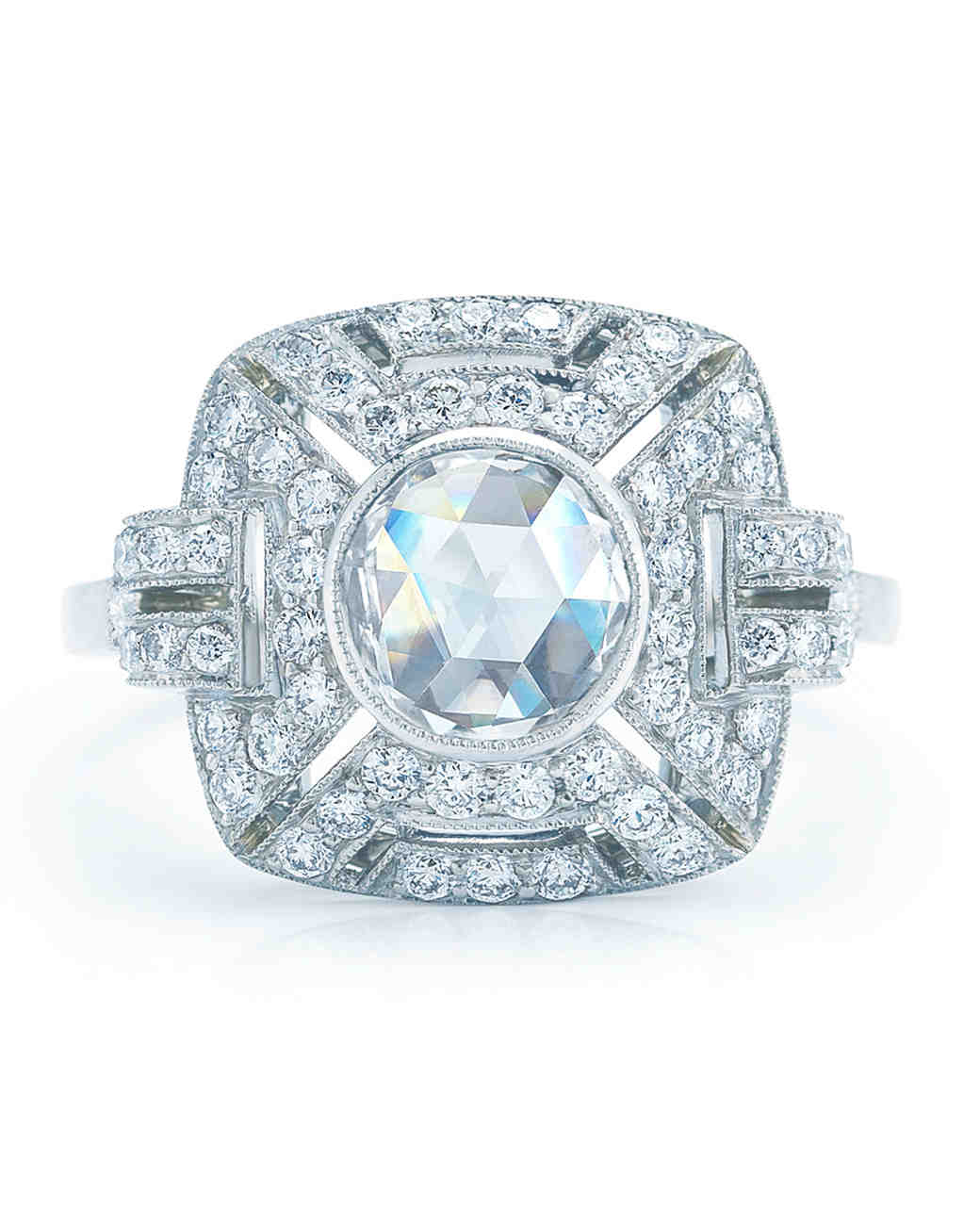 Kwiat vintage square diamond halo engagement ring