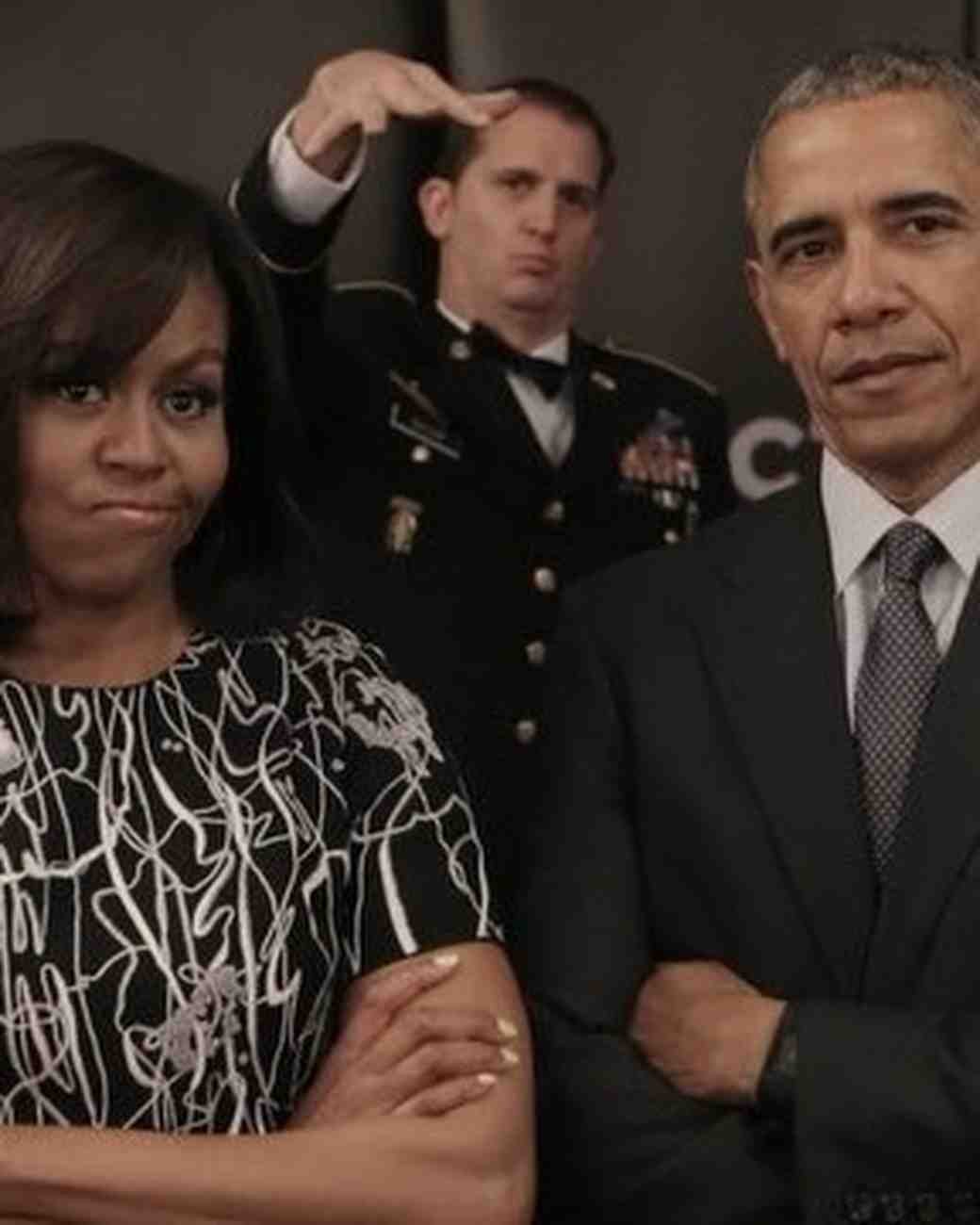 Michelle and Barack Obama with Stern Faces