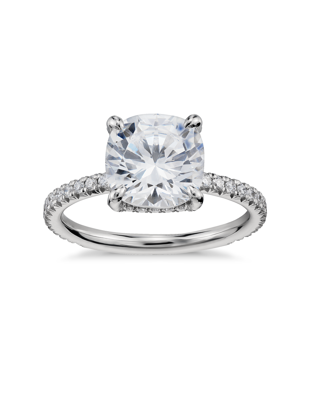 Blue Nile Cushion Cut Petite French Pavé Crown Diamond Engagement Ring