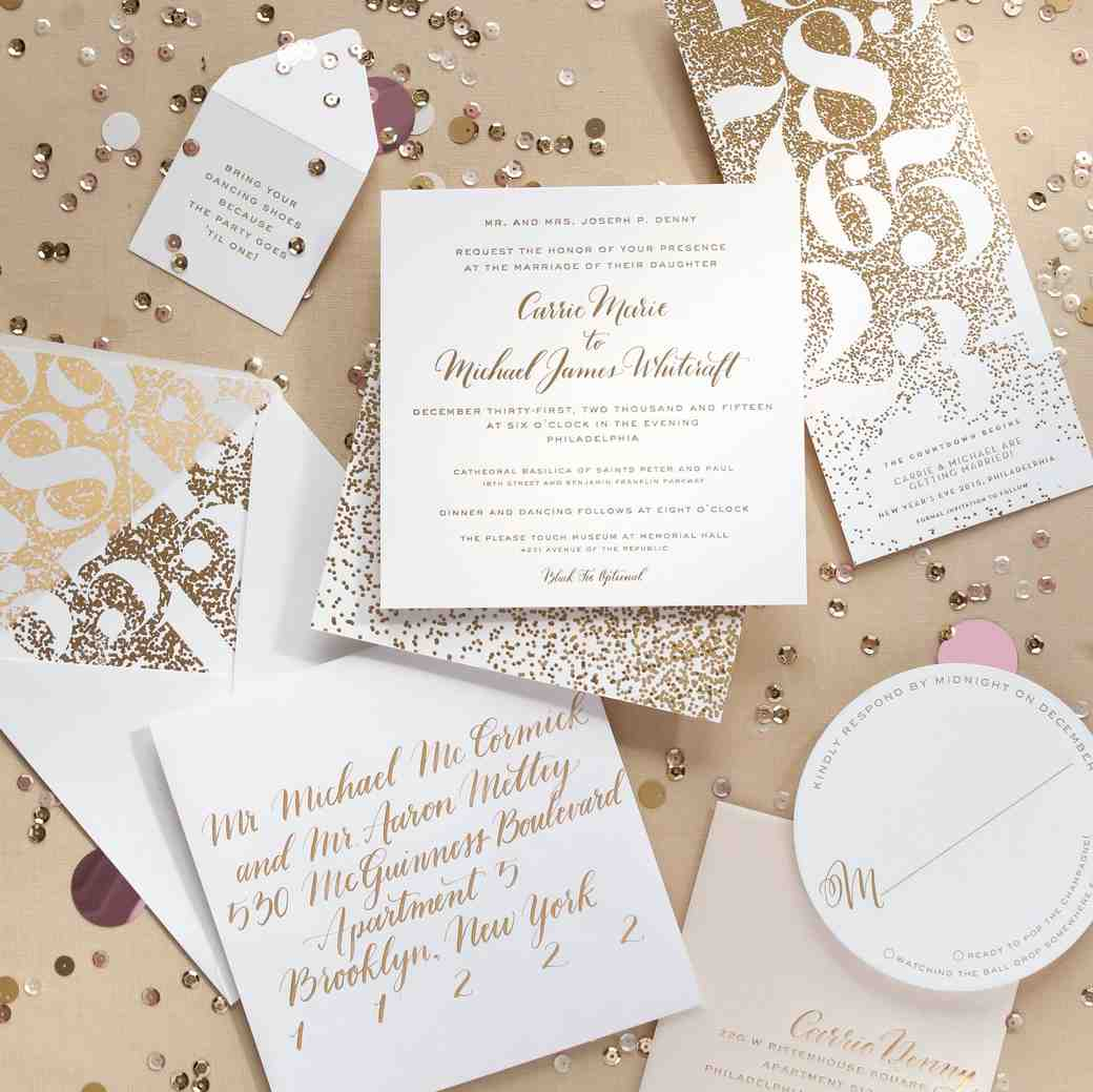 New Years Eve wedding stationery