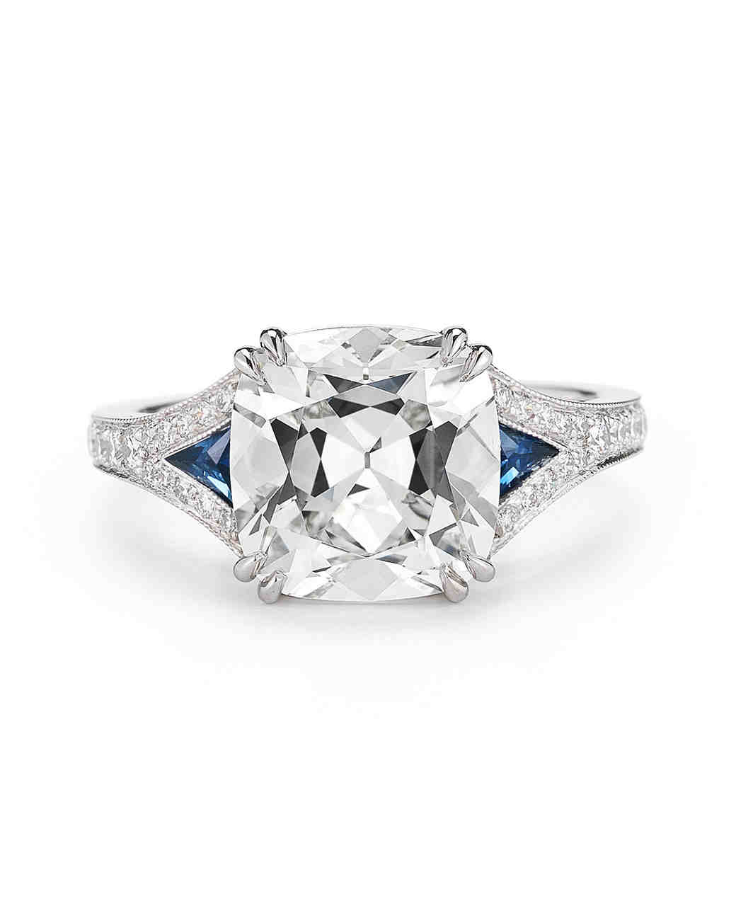 McTeigue & McClelland Antique Cushion-Cut Engagement Ring with Blue Sapphires