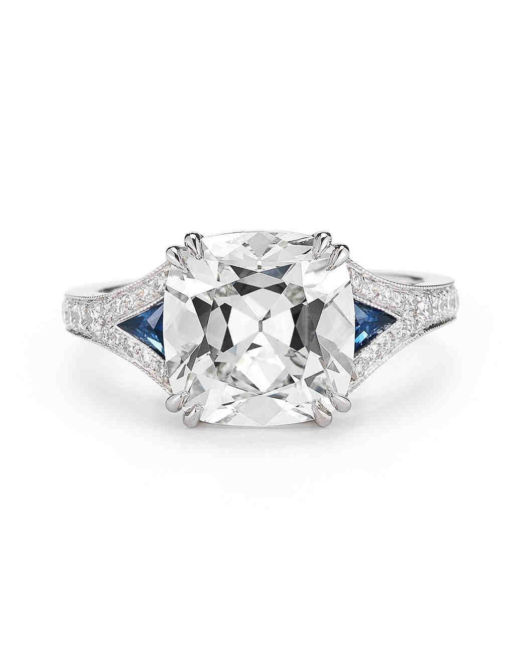 McTeigue & McClelland Antique Cushion-Cut Engagement Ring with Blue Sapphires