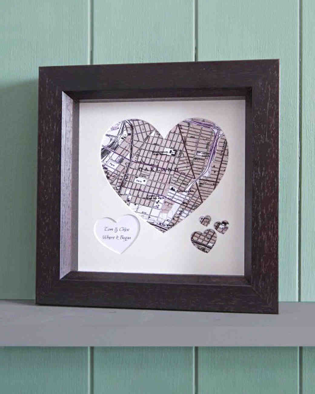 personalized heart-shaped frame with map