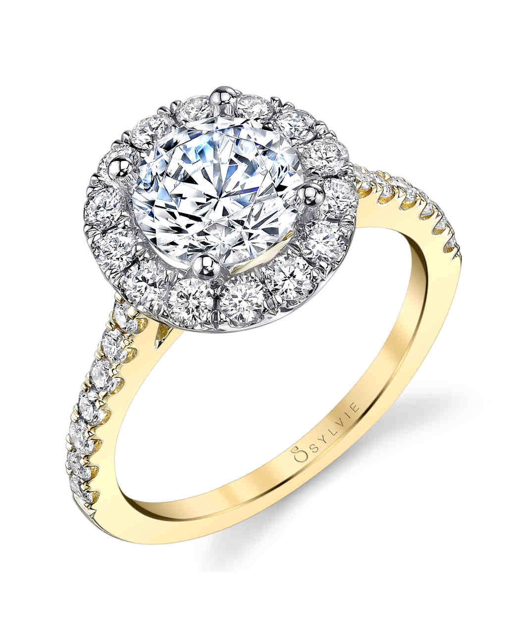 Sylvie Collection two-tone yellow gold engagement ring brilliant round center stone