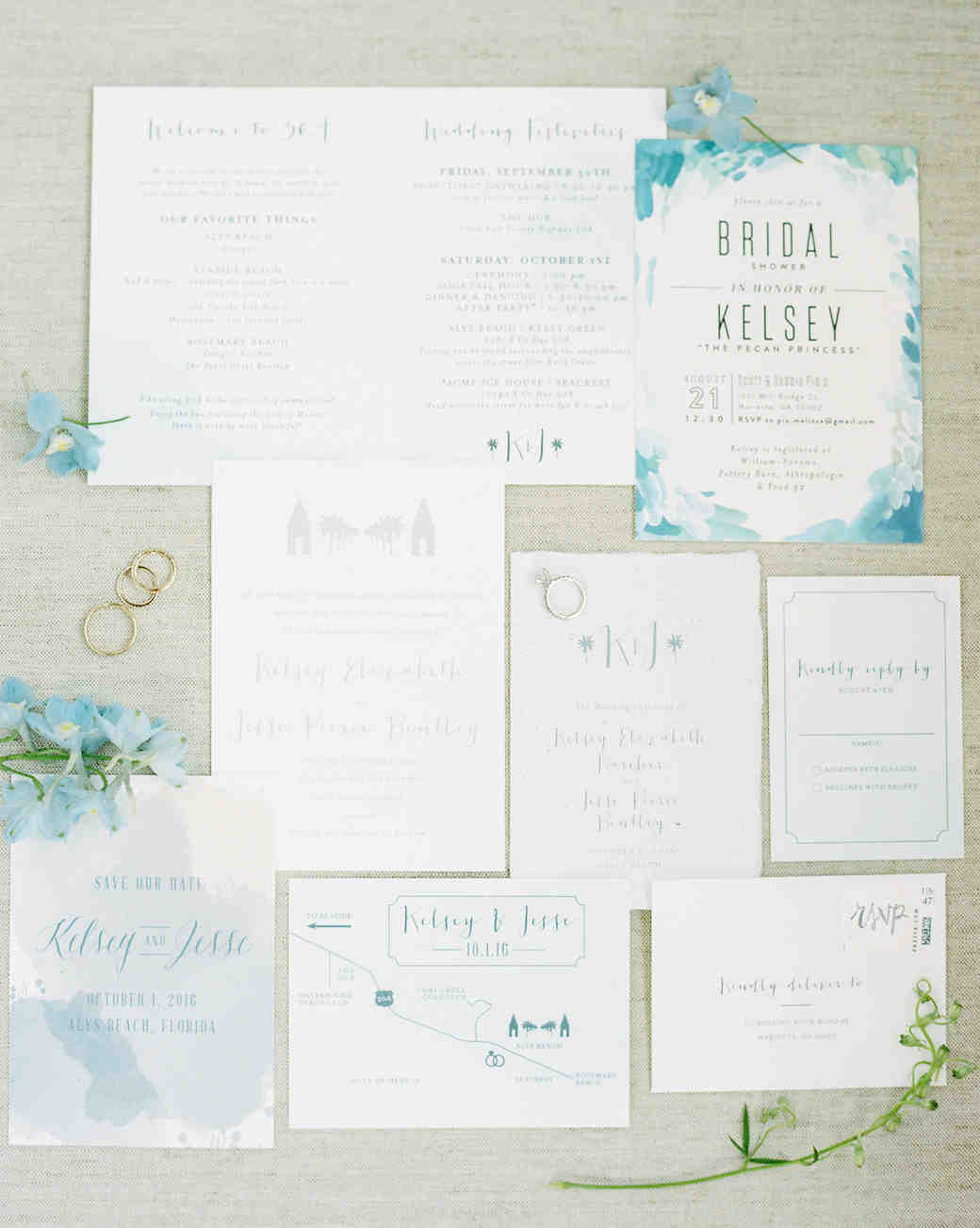 muted blue and green wedding invitation