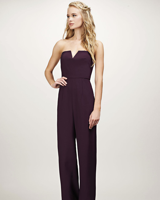 purple strapless jumpsuit