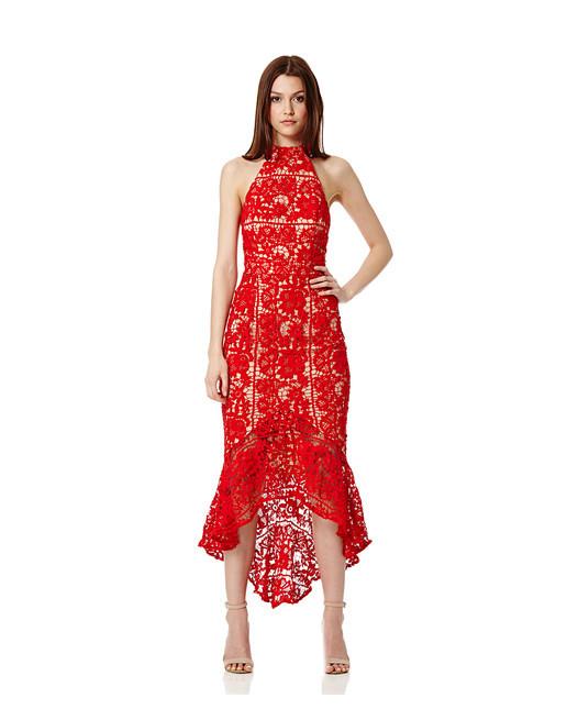 red halt guest dress