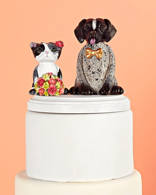 cat and english pointer cake topper