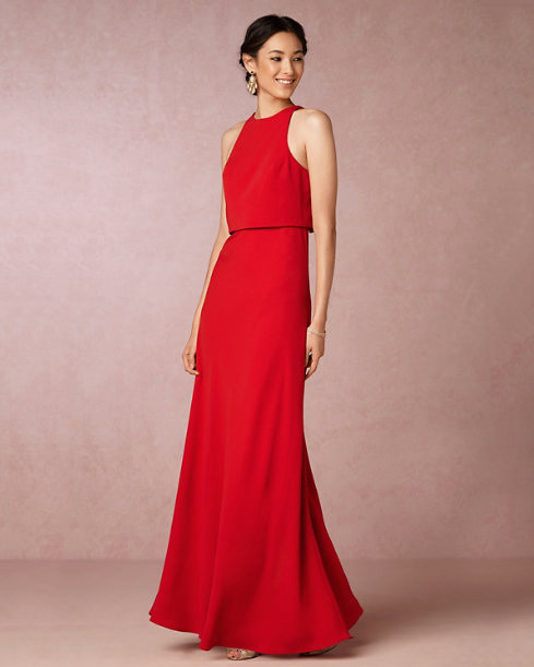 red bridesmaid dress bhldn iva maxi