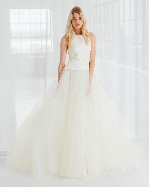 amsale high neck tulle wedding dress spring 2018