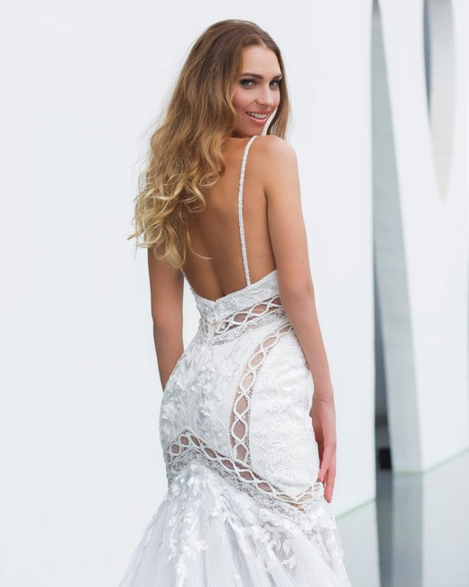 spaghetti strap trumpet persy wedding dress spring2018