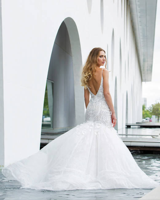 spaghetti strap lace trumpet persy wedding dress spring2018