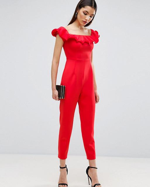 red off shoulder jumpsuit