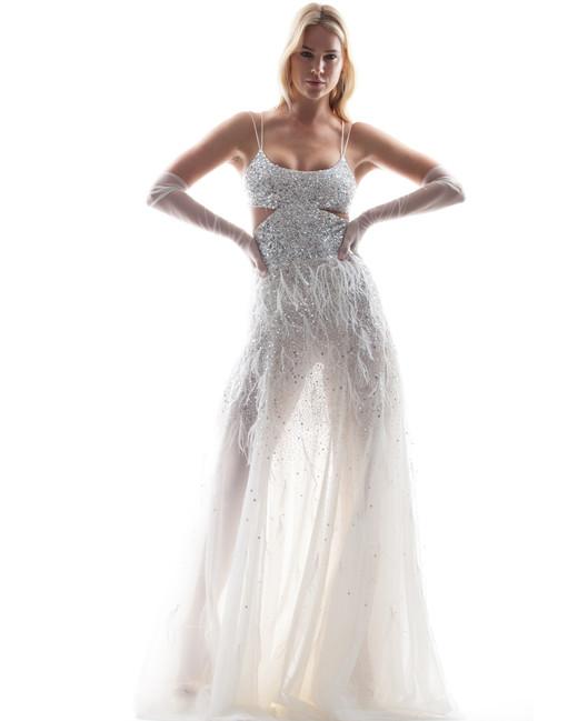 sparkly houghton wedding dress spring 2018 with spaghetti straps