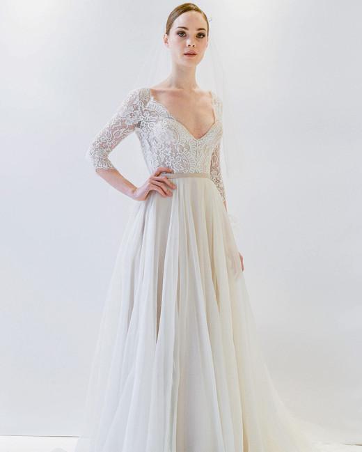 watters three-quarter length sleeves wedding dress spring 2018