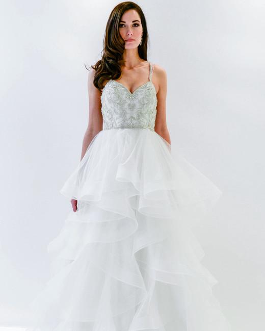 watters wtoo spaghetti strap beaded ruffles wedding dress spring 2018